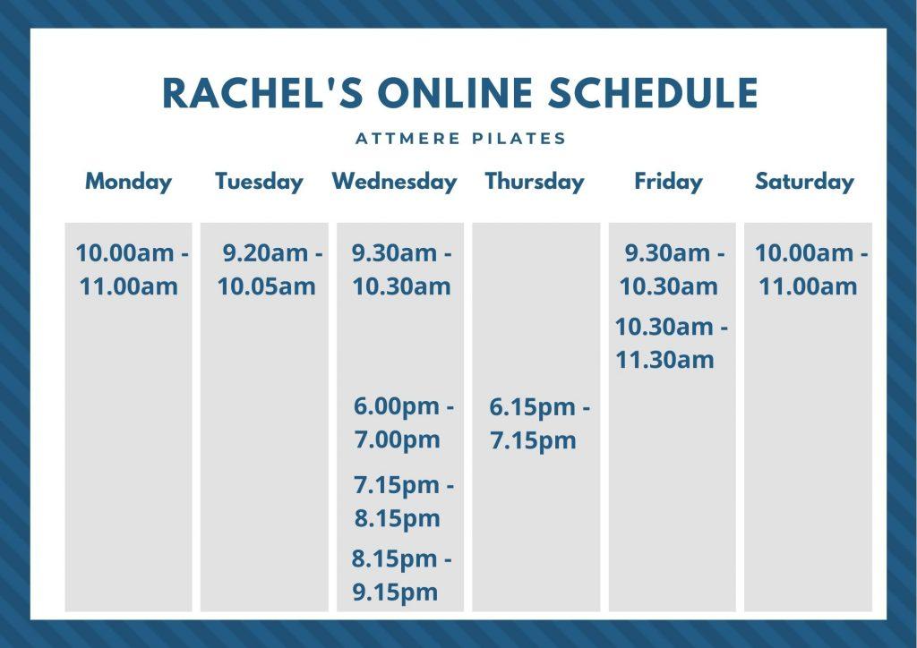 Rachel's online schedule