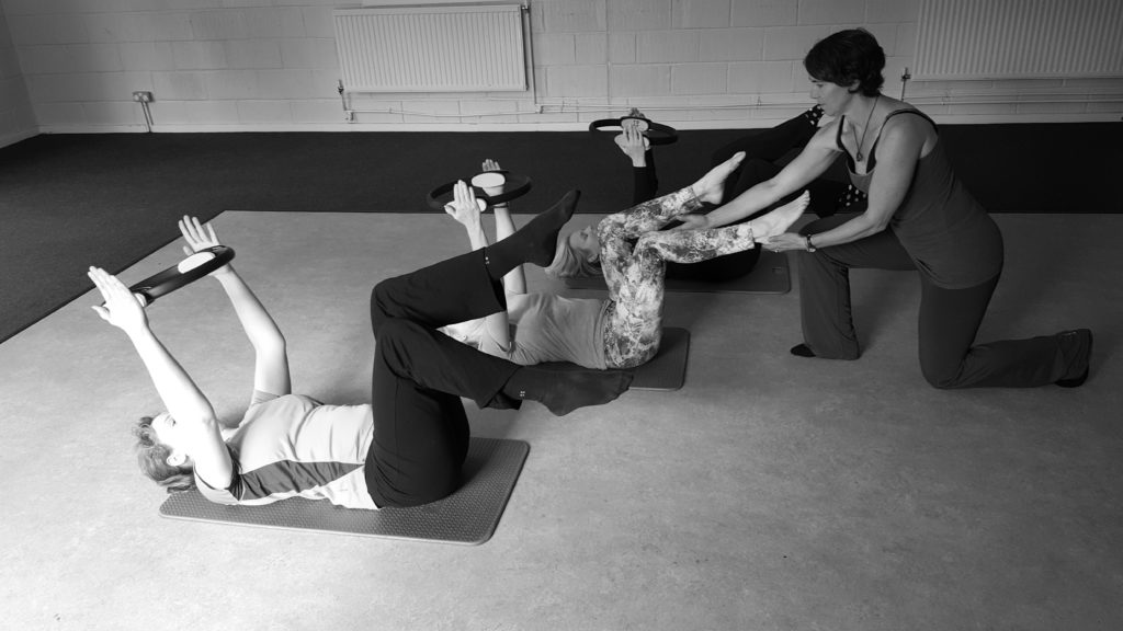 Rachel with Pilates students